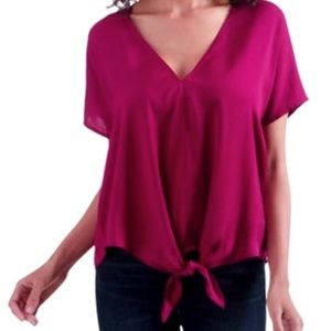 Lucky Brand pink tie front crepe short sleeve top